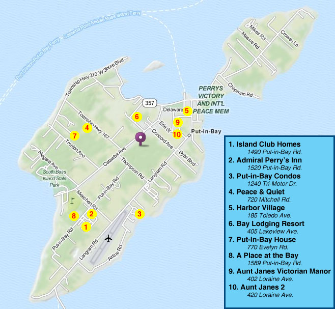 Rental Homes Bay Area: Island Club Home Rentals Property Maps Put-in-Bay Ohio